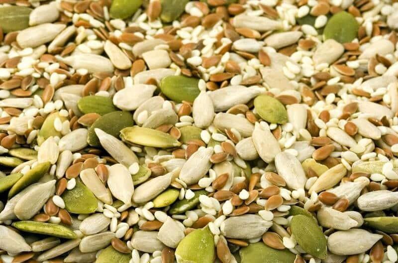 pumpkin seeds, sunflower seeds and sesame seeds